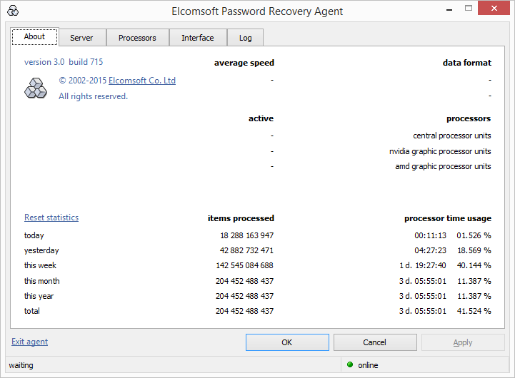 Elcomsoft Distributed Password Recovery statistics